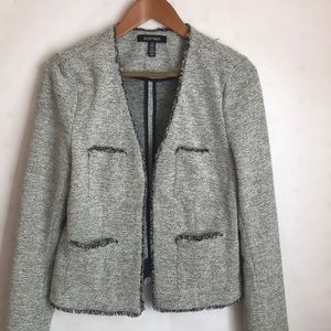 Ellen Tracy Open Front Tweed Blazer